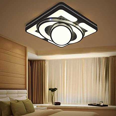 Deckenlampe LED Deckenleuchte 64W Wohnzimmer Lampe Modern Deckenleuchten  Kueche Badezimmer Flur Schlafzimmer (Schwarz, 64W-Warmweiß)
