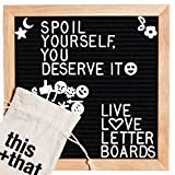 Changeable Black Felt Letter Board 10x10 Inch Premium Oak Wood Message Board. 340+ White Plastic Changeable Characters, Symbols & Emojis. Includes: Canvas Drawstring Bag & Wall Mount! DIY Kit.