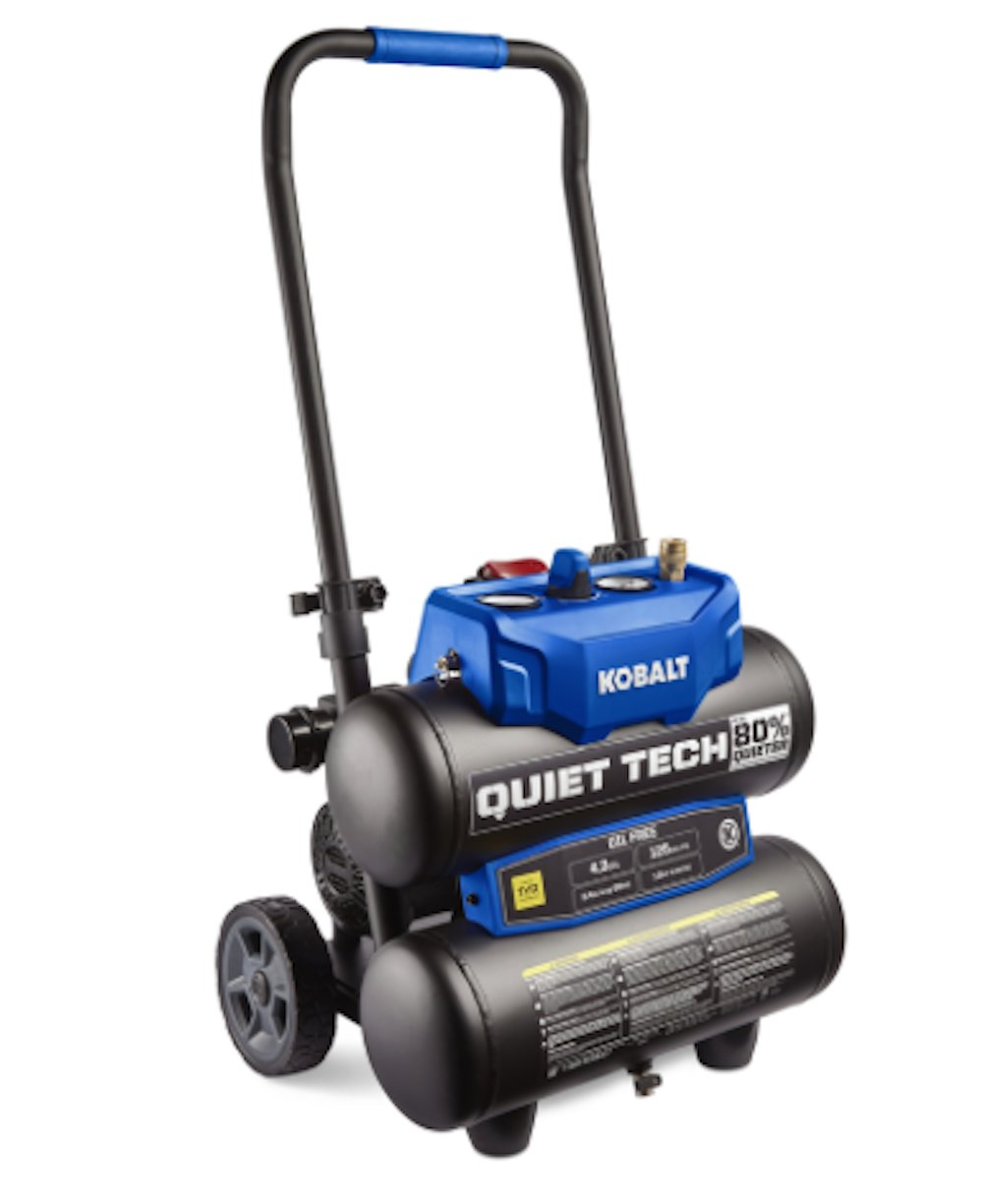 Kobalt Quiet Tech 4.3-Gallon Portable Electric Twin Stack Quiet Air Compressor Kobalt INC.
