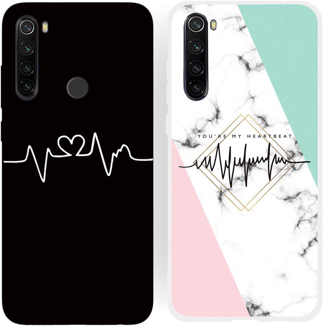 DiaryTown para 2 Pack Funda Xiaomi Redmi Note 8 Silicona Blando Blanco Negro, Carcasa Redmi Note 8 Funda Resistente Dibujos Flexible TPU Cover Case Antigolpes, Latido del corazón B
