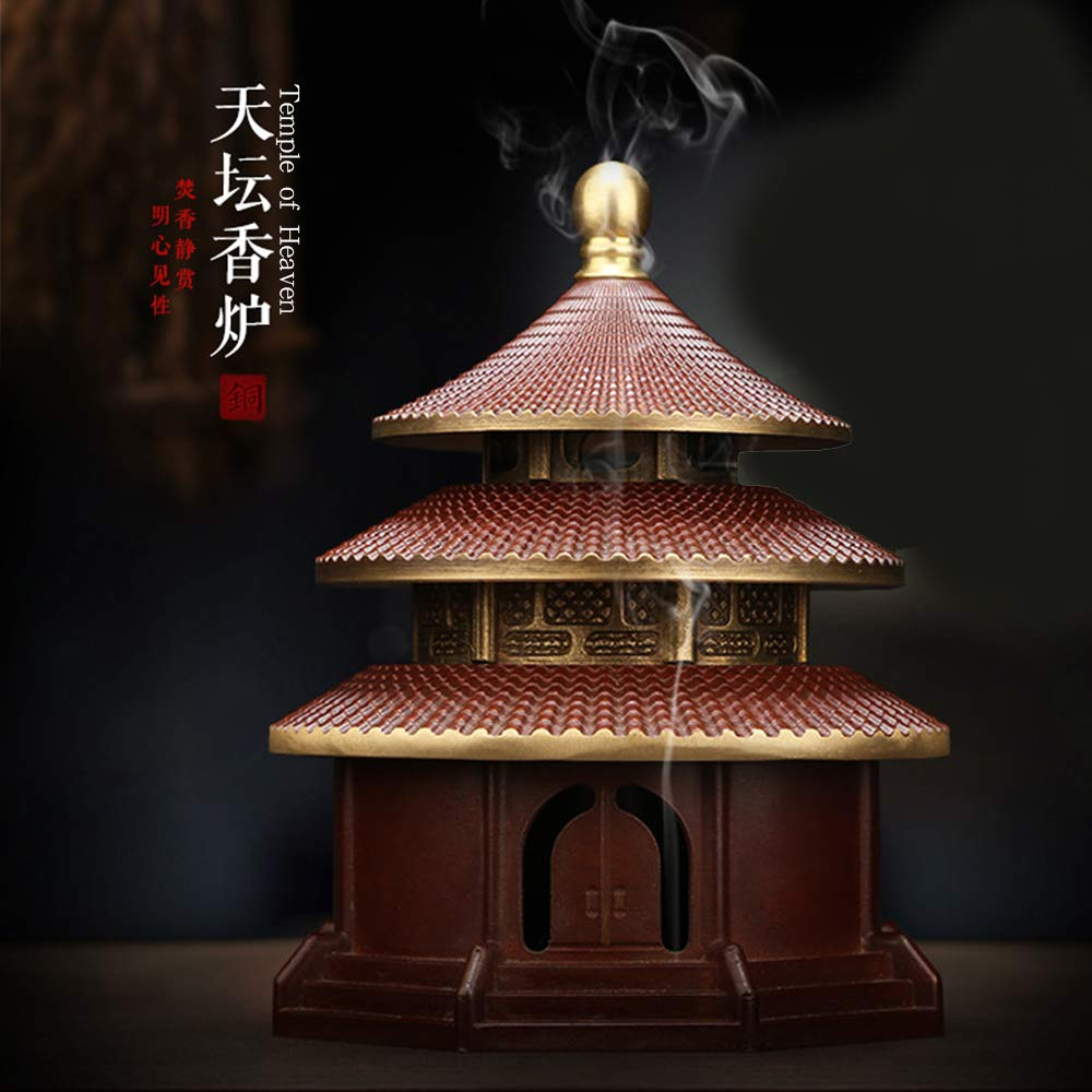 Yong He Xuan Hand-Made The Temple of Heaven Censer- Incense Burner- Contain Incense Holder China Classical Style Traditional Technology (Classical Red) by Yong He Xuan (Image #6)