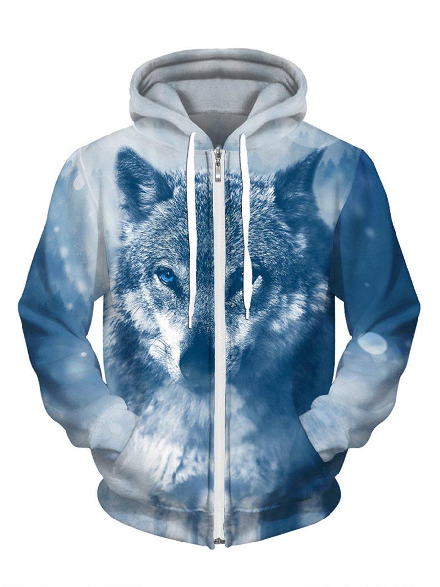 Royalove Unisex Realistic 3D Digital Printed Full-Zip Hoodie Jacket Sweatershirt Hooded Blue Wolf S