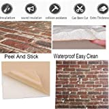 3D Brick Wall Panels PVC Foam Wallpaper Brown White Color Painted Faux Brick 3D Wall Panels Wallpaper For Office Bedroom Livingroom Wall Decor Covering 10 Tiles