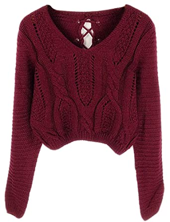 c72d108143 PrettyGuide Women Eyelet Cable Knit Lace Up Crop Long Sleeve Sweater Crop  Tops Burgundy  Amazon.in  Clothing   Accessories