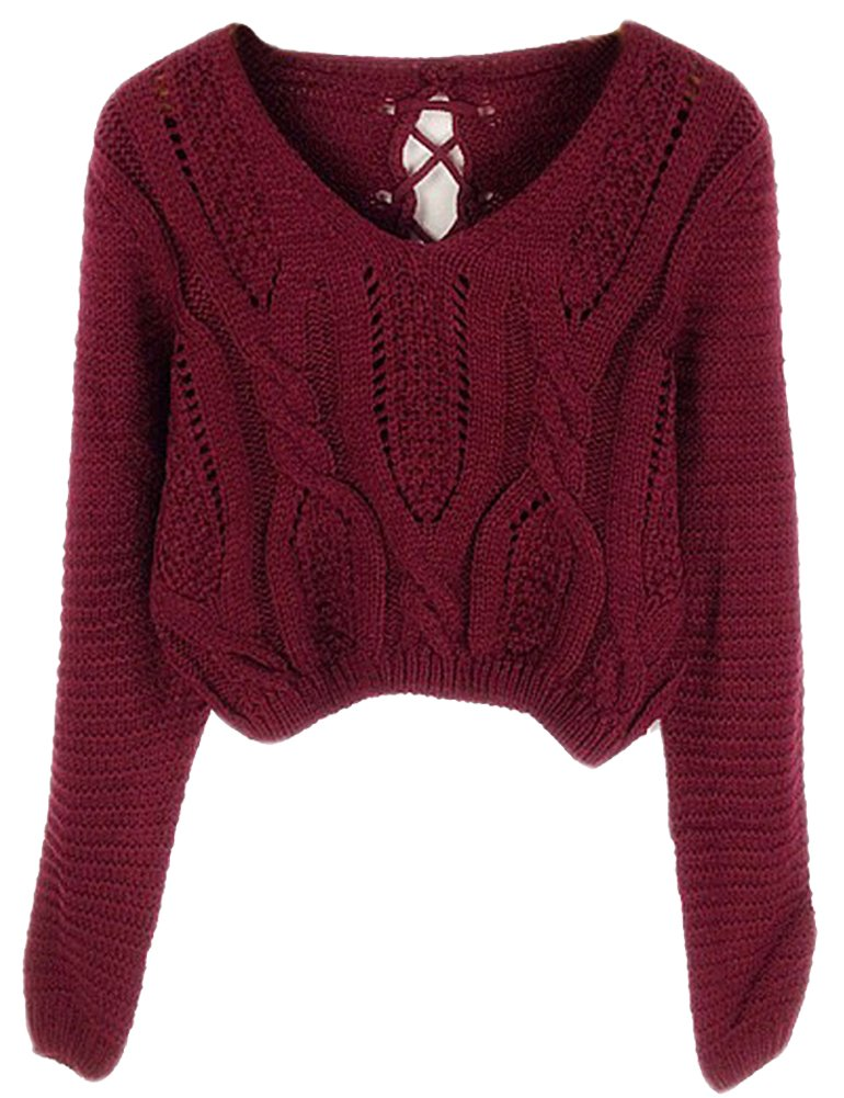 PrettyGuide Women's Long Sleeve Eyelet Cable Lace Up Crop Top Burgundy M