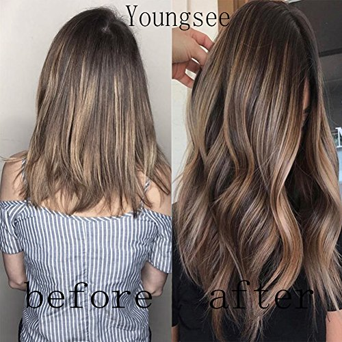 Youngsee 22inch Remy Hair Extensions Clip in Human Hair Balayage Ombre Color Dark Brown Highlight Honey Blonde Thick Straight Clip in Hair Extensions 7Pcs/120G/Set