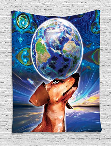 Ambesonne Animal Tapestry, Cute Adorable Dog Holding Earth