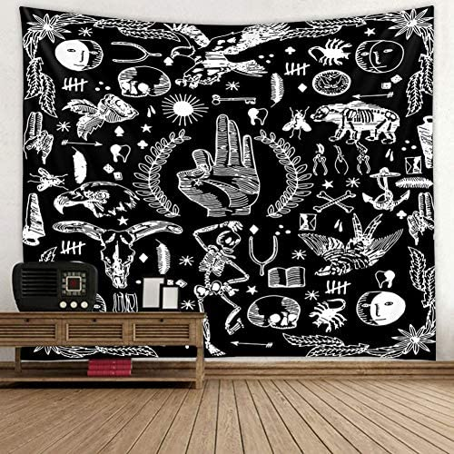 Kanora Skull Tapestry Meditation Skeleton Tapestry Chakra Tapestry Starry Tapestry Black and White Stars and Moon Phase Tapestry for Room