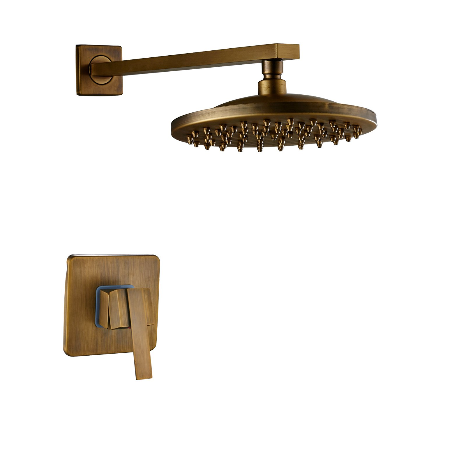 Rozin Antique Brass Bathroom 8-inch Rainfall Shower Head with Single Handle Mixer Valve Wall Mounted by Rozin