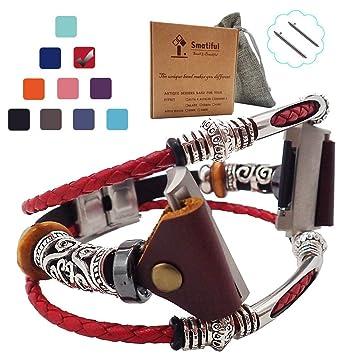 Smatiful Ionic De Imitación Antigüedades Sport Correa Tener Box Fundas,Adjustable Banda Compatible con Fitbit Ionic Smartwatch,Rojo