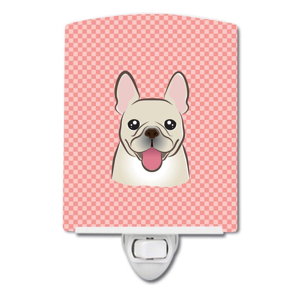 Carolines Treasures Checkerboard Pink French Bulldog Ceramic Night Light 6x4 Multicolor