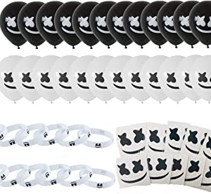 48 Pcs Marshmellow DJ Birthday Party Supplies, DJ Game Party,Ideal for Kids Gamer Fans Gaming Theme Party Decorations Favors,12 bracelet,12 Tattoo Stickers,24 Balloons