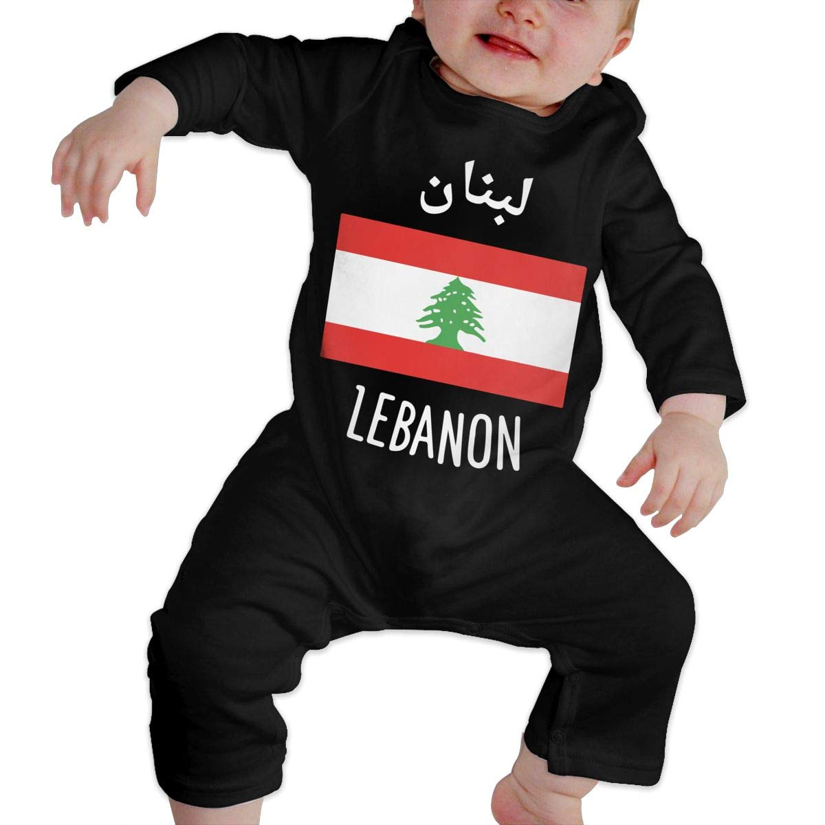 LBJQ8 Lebanon Flag Newborn Kids Baby Boys Essential Basic Romper Jumpsuit Bodysuit