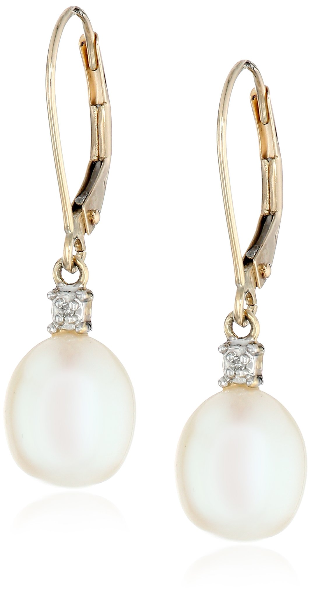 10k Yellow Gold Freshwater Cultured Pearl with Diamond Accent Drop Earrings (8-8.5 mm) by Amazon Collection