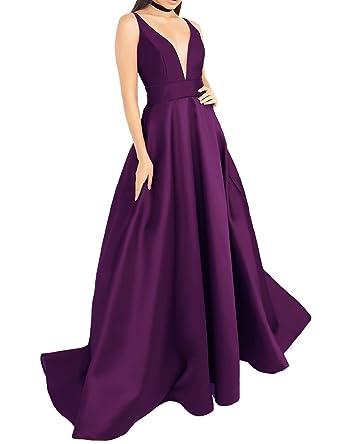 5948c5195187 YSMei Women's Deep V Neck Prom Dress with Pockets Long Evening Dress Formal  Gown Dark Grape