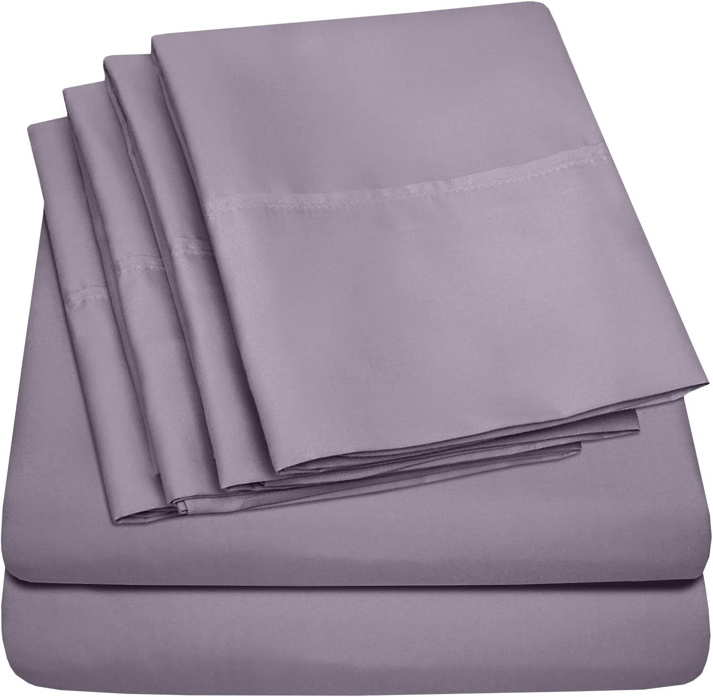 Cal King Size Bed Sheets - 6 Piece 1500 Thread Count Fine Brushed Microfiber Deep Pocket California King Sheet Set Bedding - 2 Extra Pillow Cases, Great Value, California King, Plum