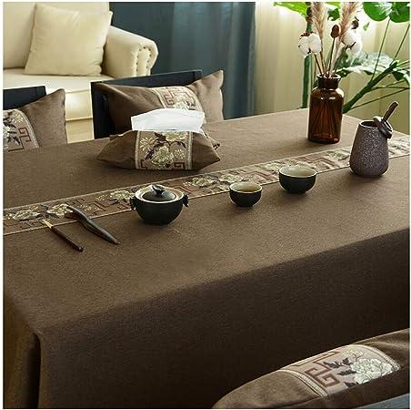 Qiao jin Manteles Mantel algodón y Lino Simple Mantel Rectangular Tela Square Mesa de café de Tela Mantel Mat Color del café Mantel (Color : A, Size : 100 * 160cm): Amazon.es: Hogar