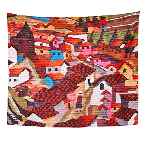 Semtomn Tapestry Artwork Wall Hanging Colorful America South American Village Town Mexican Chilean Brazilian 50x60 Inches Tapestries Mattress Tablecloth Curtain Home Decor Print