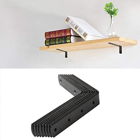 90 grados de /ángulo Montado en la pared Soporte de soporte Marco con 8 PCS L Soportes para estantes Soportes de estante para servicio pesado 125X75 mm Soportes de pared