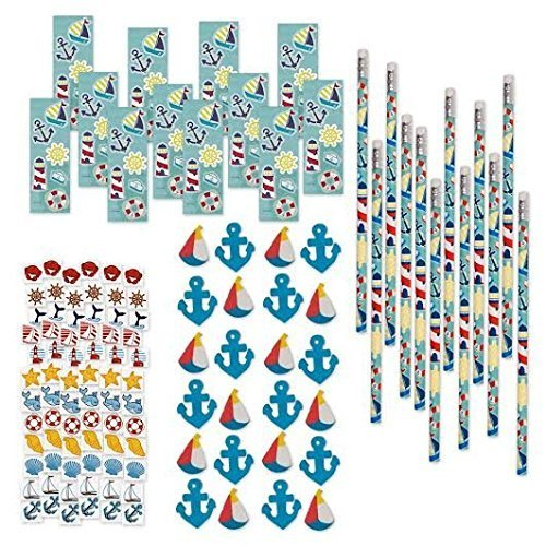 288 Piece Bulk Value Pack Set Nautical Party Favor Supplies Accessory Kit Pencils Stickers Erasers & Tattoos, Whale Crab Fish Seashells Sailboat Lighthouse Anchor Life Ring Buoy Ship Wheel Sailor (Ocean Themed Tattoos)