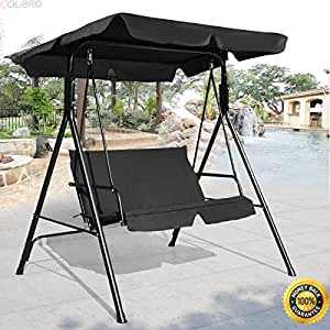 COLIBROX--Loveseat Patio Canopy Swing Glider Hammock Cushioned Steel Frame Outdoor Black,2 Person Larch Wooden Swing Loveseat Hammock,swing chair outdoor,hammock swing chair,lowes porch swing