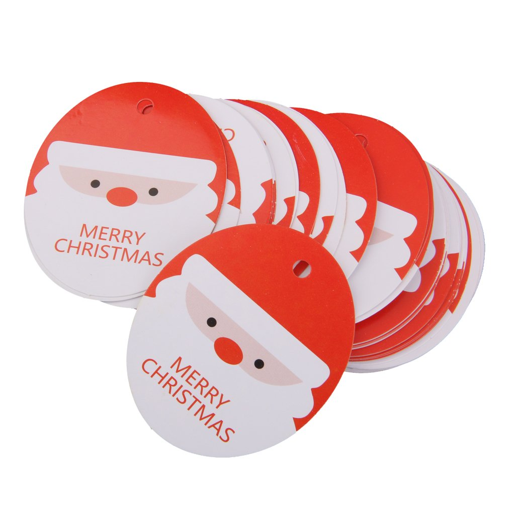 Phenovo Approx.48pcs Merry Christmas Party Favour Gift Tags Labels Santa Pattern