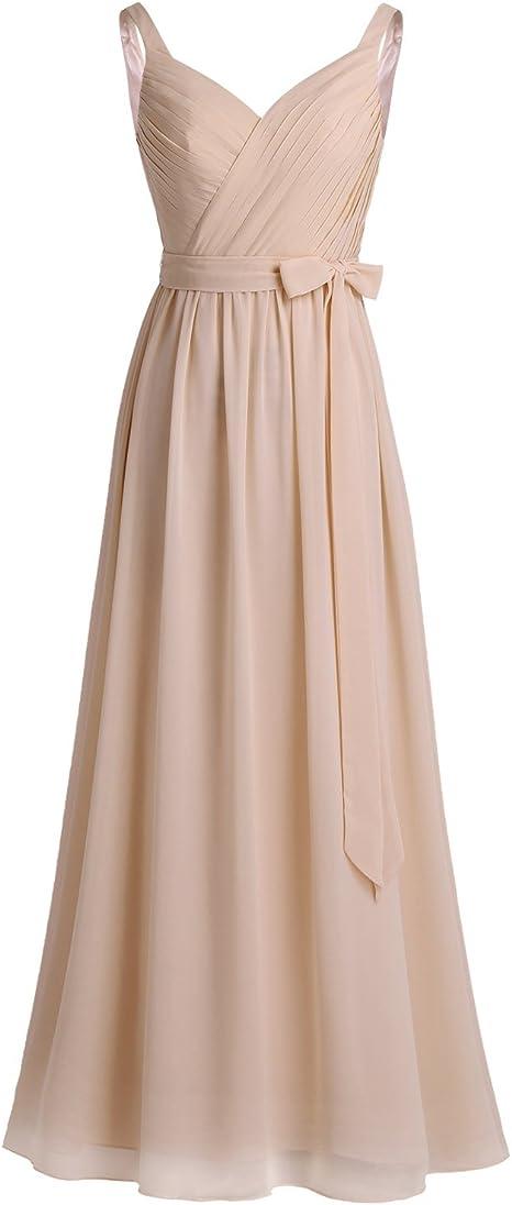 Freebily Damen Kleid Festlich Brautjungfernkleider Chiffon Kleider Hochzeit Lang Elegantes Abendkleid Armellos Abschlussballkleid Bodenlang Amazon De Bekleidung