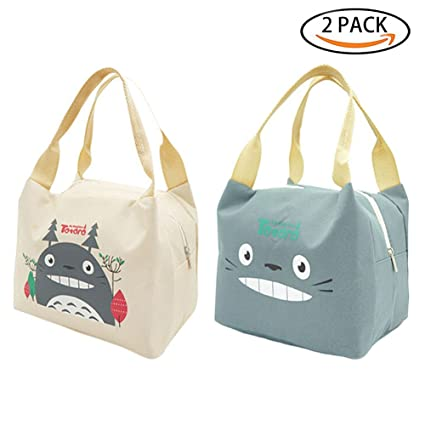 d388d9db873f Amazon.com: Totoro Lunch Bag for Kids, 2-Pack Portable Insulated ...