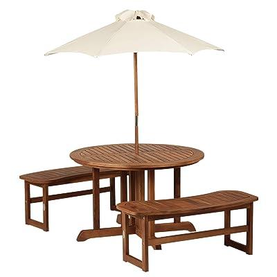 Outsunny 4-Piece Kids Outdoor Patio Table and Bench Set Acacia Wood with Umbrella: Garden & Outdoor