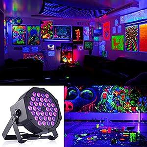 72W Black Lights, DeepDream 36LED UV Blacklight Stage Spotlight with Remote Control