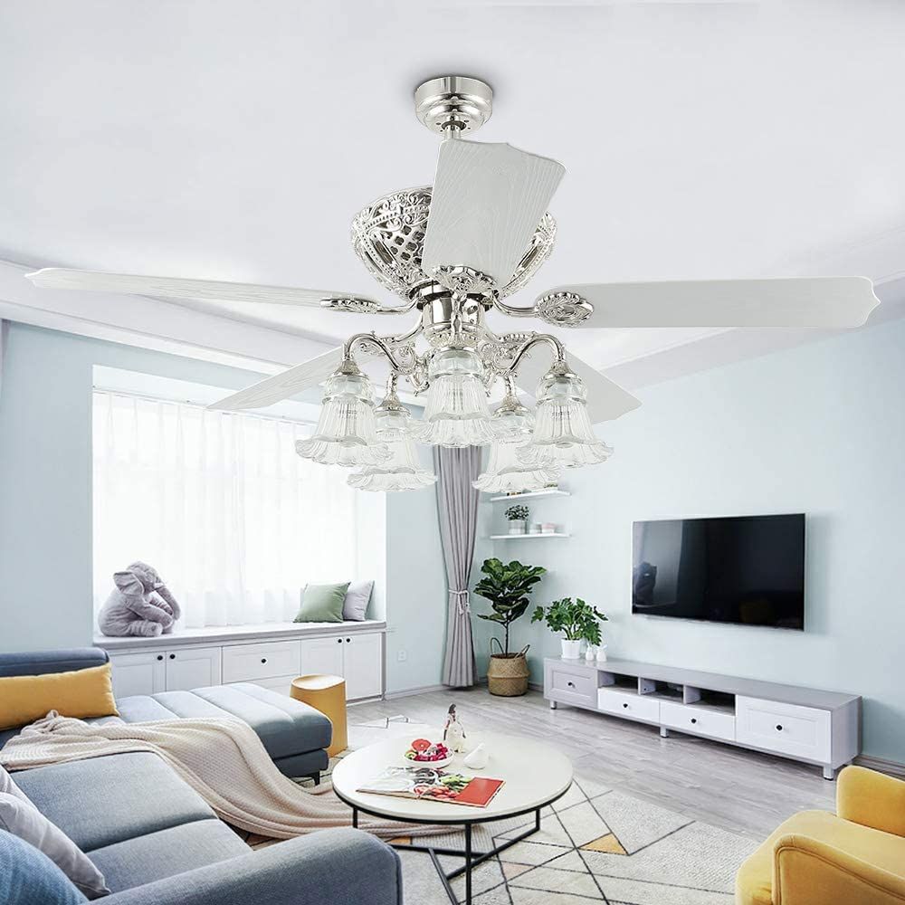 52 Indoor Ceiling Fan Chandelier With Glass Lights 5 Blades Remote Control Quiet Home Decoration Modern Living Room Bedroom White Chromn
