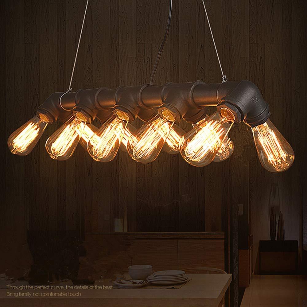 Amazon com ladiqi 10 lights industrial pipe island light hanging pendant lighting fixture retro chandelier black for kitchen dining room bar restaurant