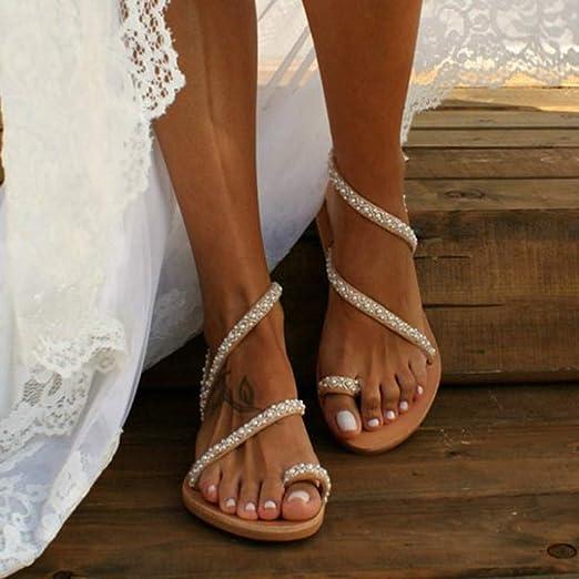 Wyxhkj Sandalias Planas Mujer Sandalias De Verano Crystal Perlas Sandalias Para Mujer Con Punta Abierta Zapatos De Playa Bohemias Sandalias Romanas
