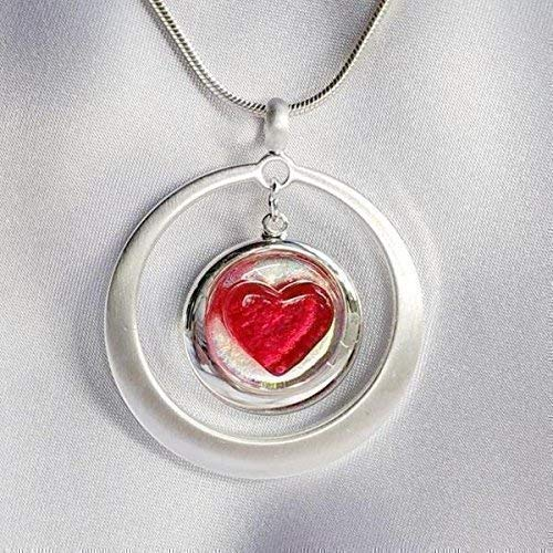 IN MY HEART Red & Brushed Silver Dangle Dichroic Fused Glass Jewelry Pendant Necklace I Love You (Fused Glass Dichroic Jewelry)