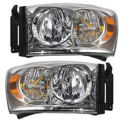Driver and Passenger Headlights Headlamps Replacement for Dodge Pickup Truck 68003125AD 68003124AD