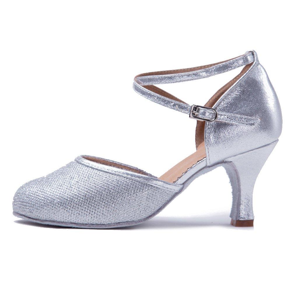 HROYL Zapatos de Baile/Zapatos Latinos de Cuero para Mujeres Zapatillas Sala Dance Ballroom EC5-F15 WX