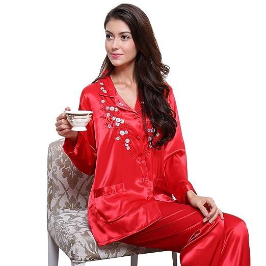252e429993 Womens Silk Satin Pajamas Set Sleepwear Loungewear XS~3XL Plus at ...