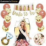Arts & Crafts : Rose Gold Bridal Shower Decorations 31PCS bachelorette gifts Bride To Be Banner,Sash,Tassel,12inch Rose Gold Confetti balloons bachelorette party supplies (Bride to be GOLD GLITTER BANNER)