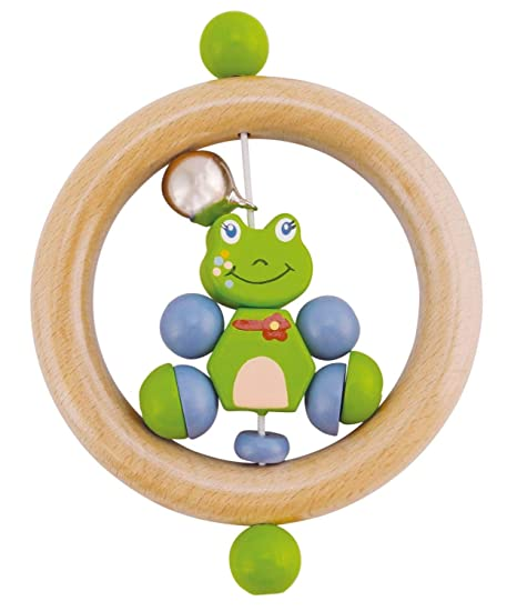 Bieco 44021001 Anillo Sonajero Froggy, Sonajero de madera con Froggy el Rana, greifrassel para