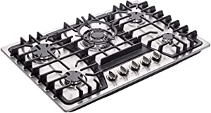 "Deli-kit DK257-A03 30"" LPG/NG Gas Cooktop gas hob stovetop 5 burners Dual Fuel 5 Sealed Burners Built-In gas hob Stainless Steel 110V AC pulse ignition gas Cooker gas stove with cast iron support"
