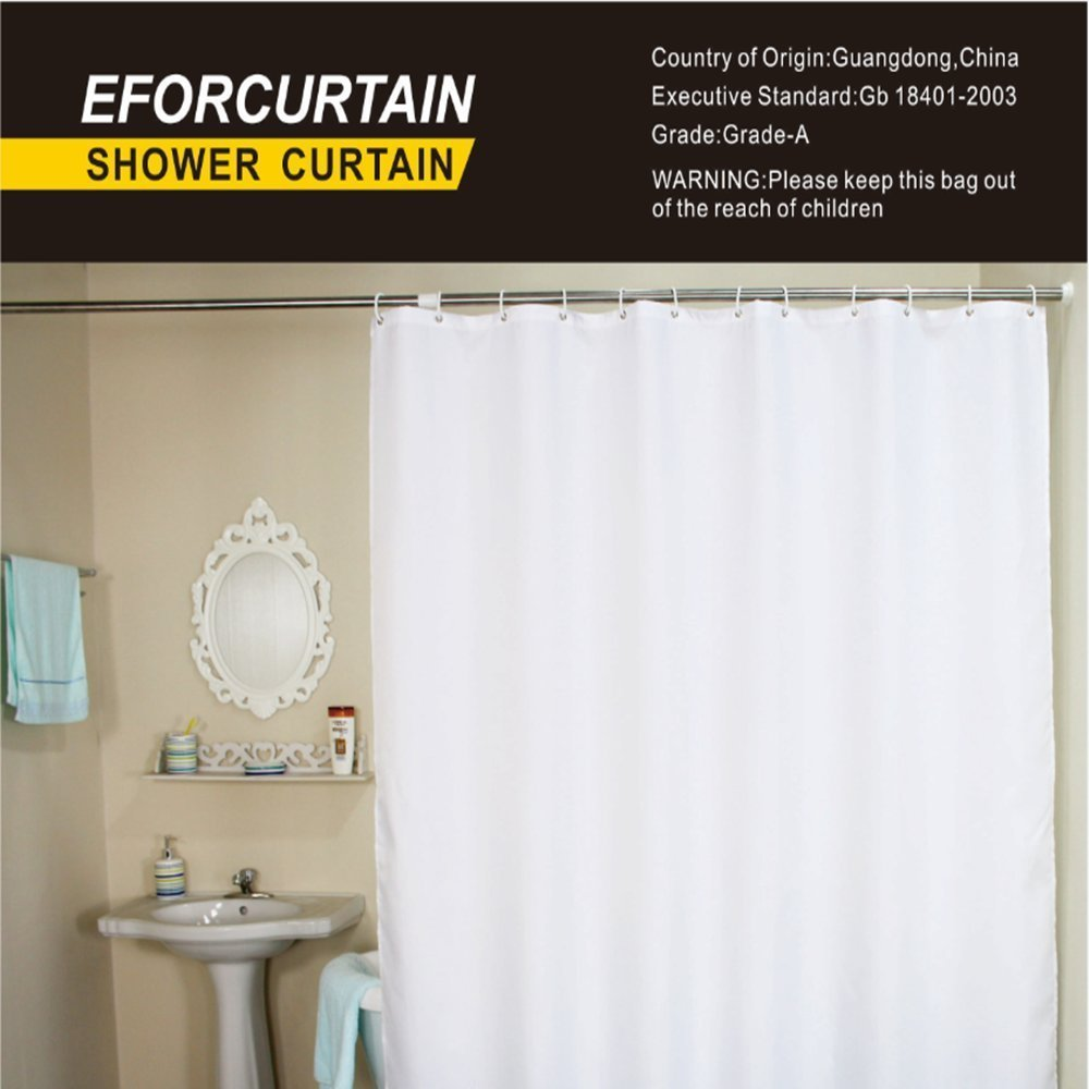 Eforcurtain Solid Shower Curtain with Rings, Waterproof and Mildew Resistant Fabric Bathroom Curtain for Hotel, 60 By 72-Inch, Pure White