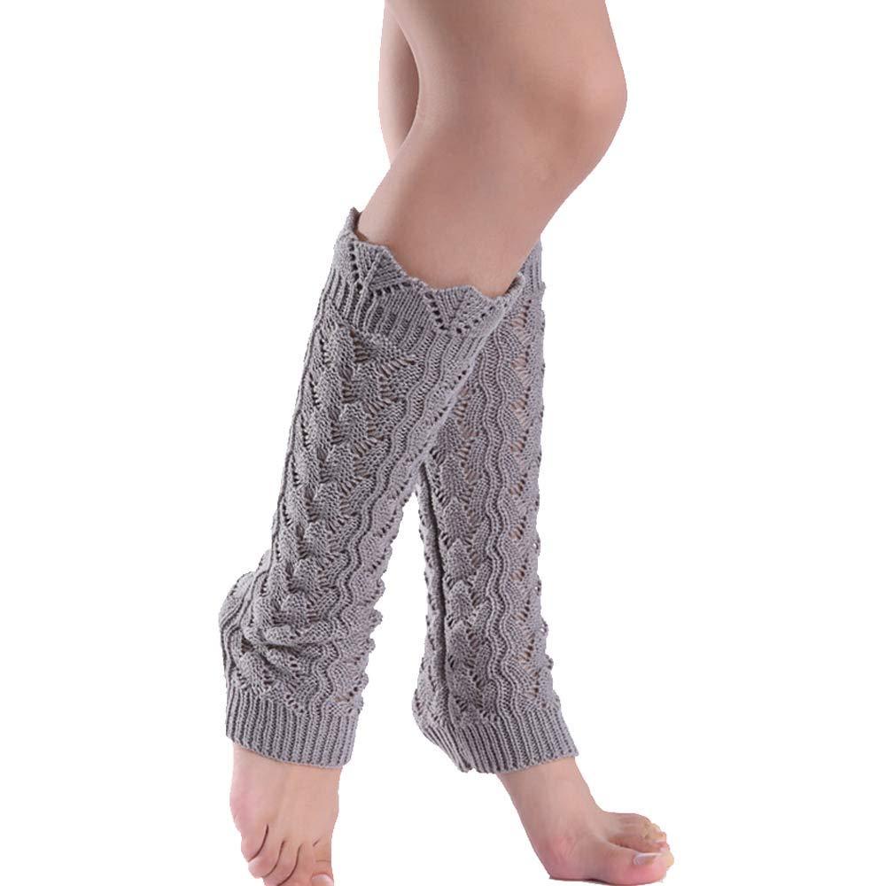 PrettyW Stretch Knit Lace Trim Leg Warmers Girls Women's Fashion Thigh High Boot Long Socks (Grey)