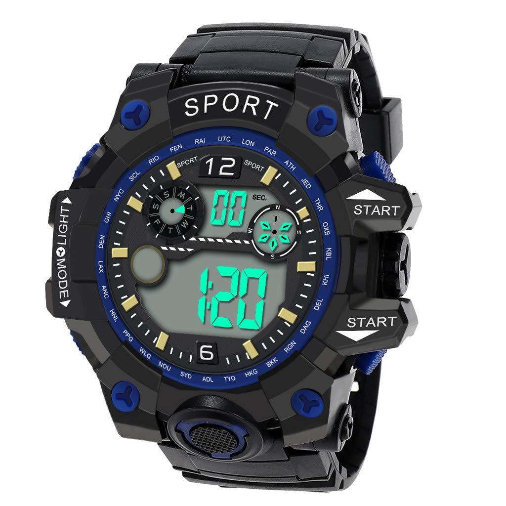 Dylung Reloj para Hombres Men Deportivos Inteligente Digital Cuarzo japonés Multifunciónal LED Resistente al Agua Cronómetro de Silicona Simple de Moda ...