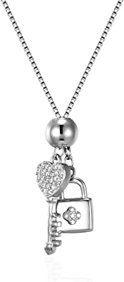 Argent Sterling 925 La clé du cœur serrure Collier Pendentif Femmes Chaîne Bijoux