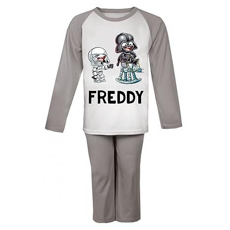 Star Wars inspirado personalizada pijama infantil pijama infantil personalizado Pjs Darth Vader Navidad regalos niños gris