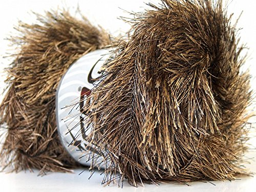 - Large 100 gram Skein Camel & Brown Eyelash Yarn Fun Fur 164 Yards