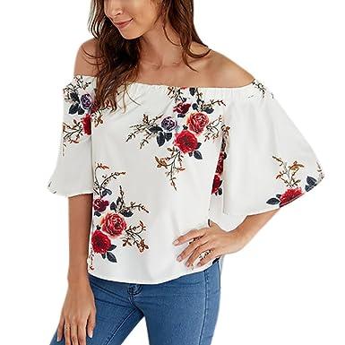Camisetas Mujer Verano 2018 Camisetas Mujer Manga Corta Camisetas Estampadas Mujer Blusas para Mujer Verano Elegantes Camisas Sin Tirantes De Mujer De ...