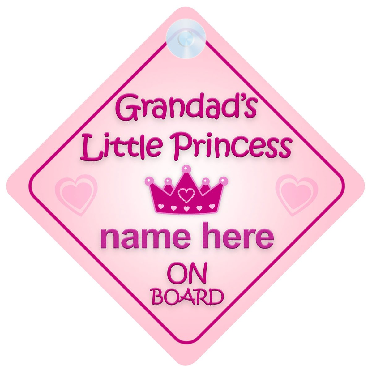 Grandad's Little Princess On Board Car Sign New Baby / Child Gift / Present
