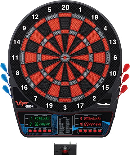 Viper Orion Electronic Dartboard, Two Large Scoreboards, Dual Color Lcd Cricket Displays, Voice Scoring With Adjustable Volume, Red Black And Silver Segments, Built In Storage For Darts And Tips, 43 G