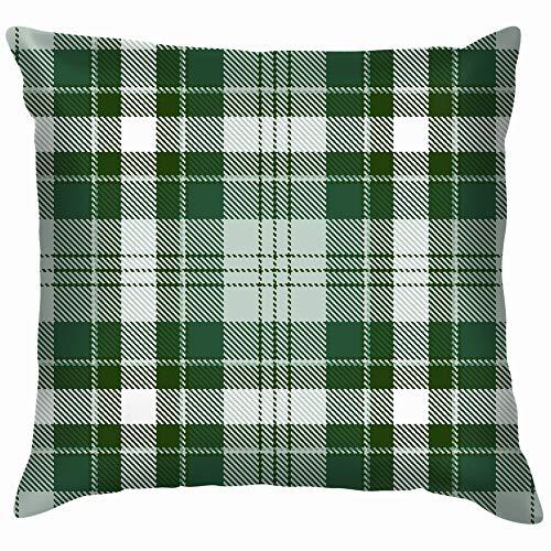 Tartan Green White Plaid Buffalo Cotton Throw Pillow Case Cushion Cover Home Office Decorative, Square 12X12 -